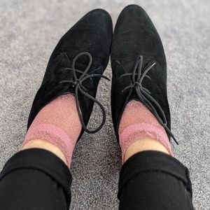 Cole Haan black suede lace up booties